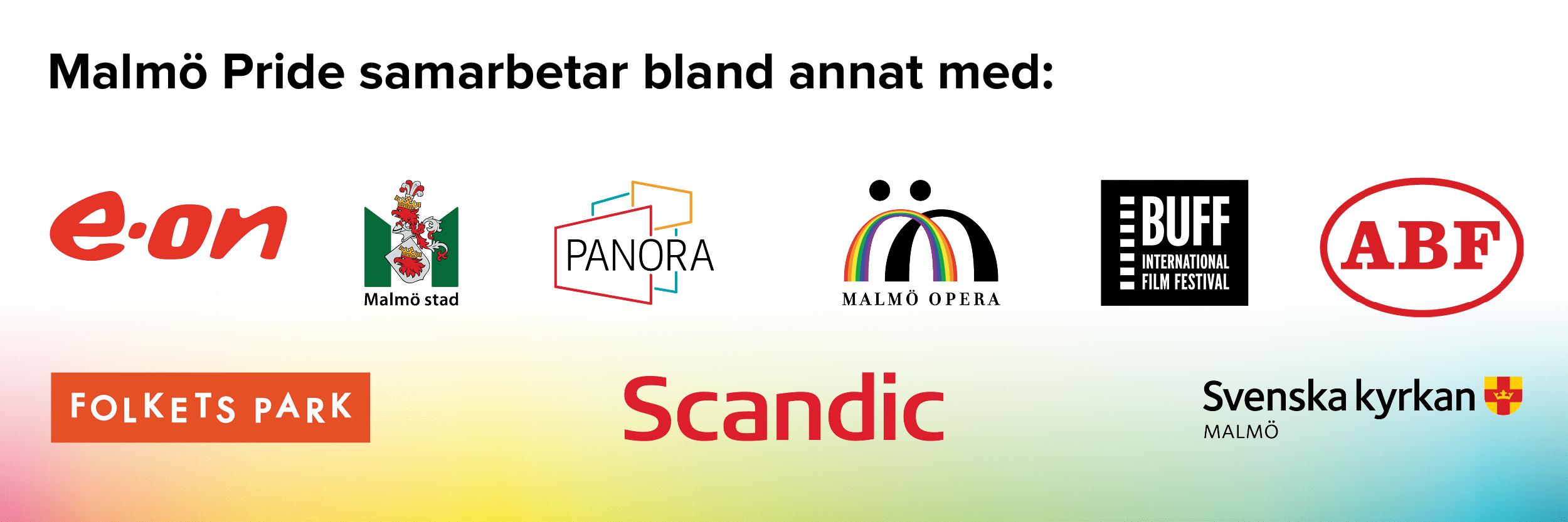 Malmö Pride samarbetar bland annat med E-on, Malmö Stad, Panora, Malmö Opera, Buff international filmfestival, ABF, Folkets Park, Scandic & Svenska Kyrkan Malmö